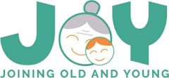JOY (Joining Old and Young) logo, with the O made of a stylised old lady's face with hair in a bun, and a child's face