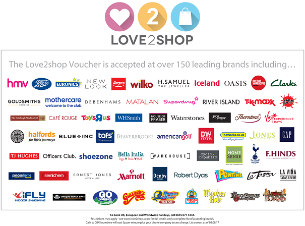 logos of the brands at which Love2shop vouchers are accepted